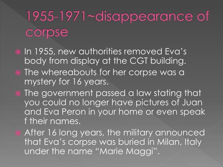 1955-1971~disappearance of corpse