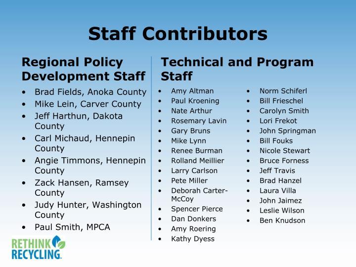 Staff Contributors