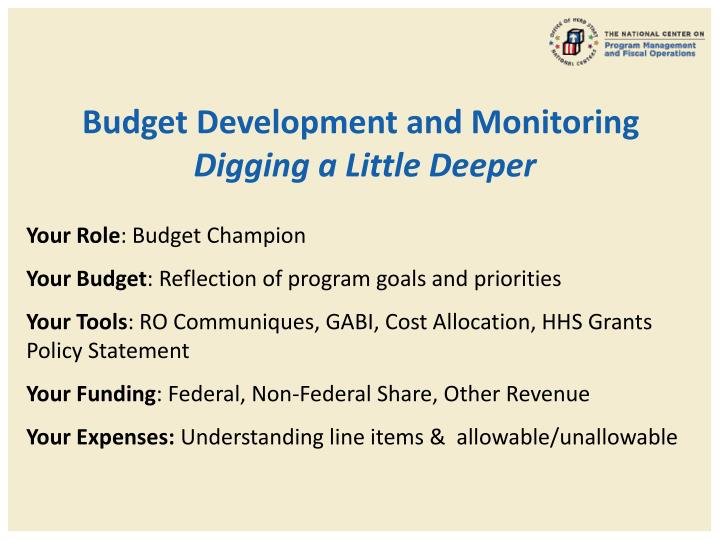 Budget Development and Monitoring