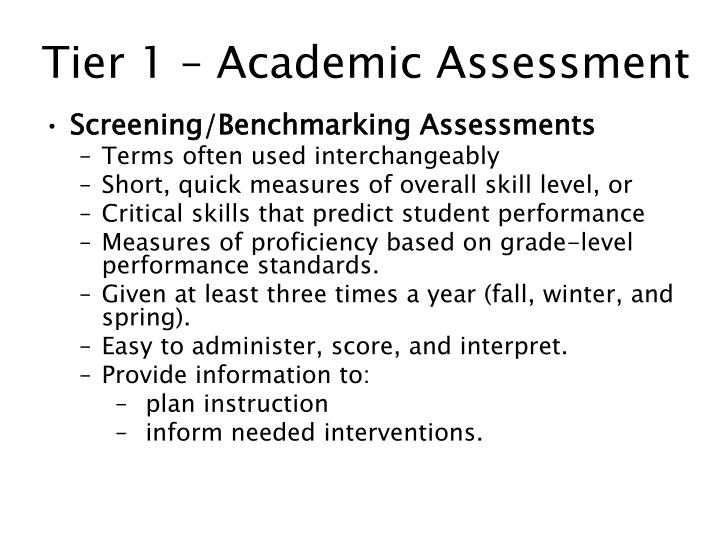 Tier 1 – Academic Assessment