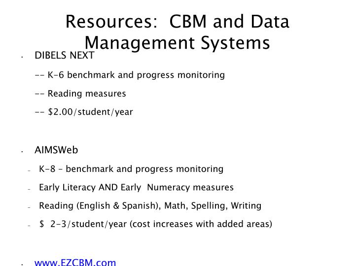 Resources:  CBM and Data Management Systems