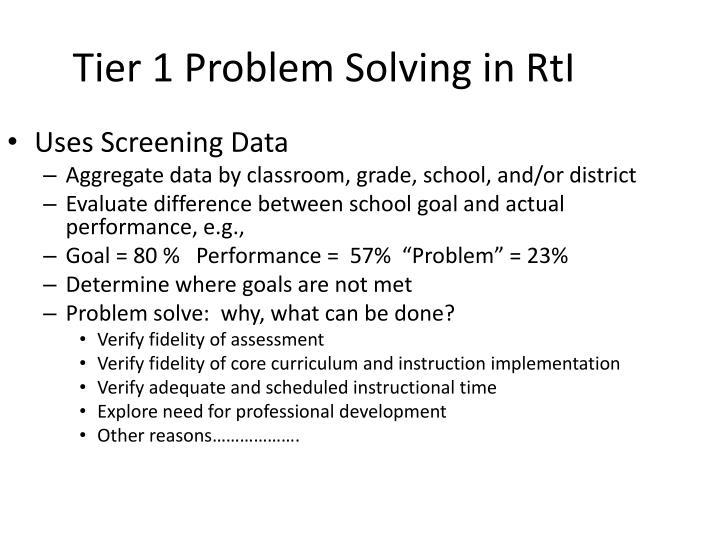Tier 1 Problem Solving in
