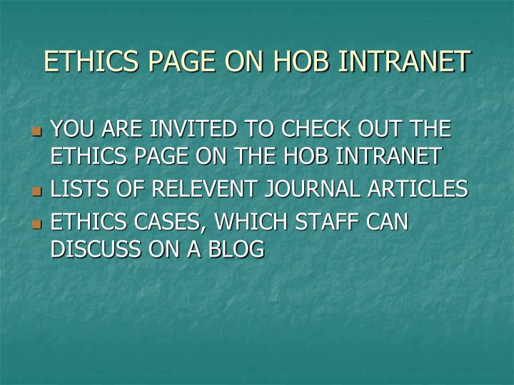 ETHICS PAGE ON HOB INTRANET