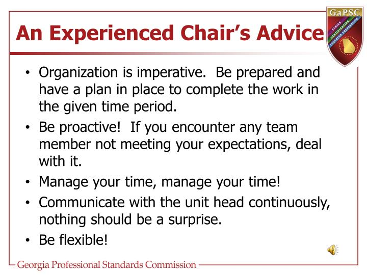 An Experienced Chair's Advice