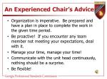 an experienced chair s advice