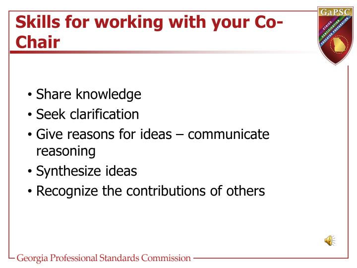 Skills for working with your Co-Chair