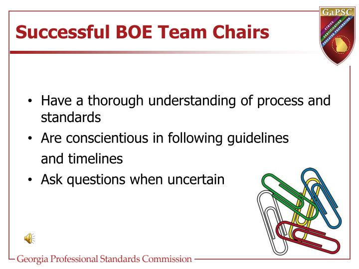 Successful BOE Team Chairs