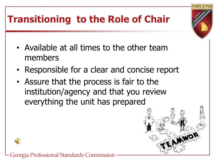 Transitioning  to the Role of Chair