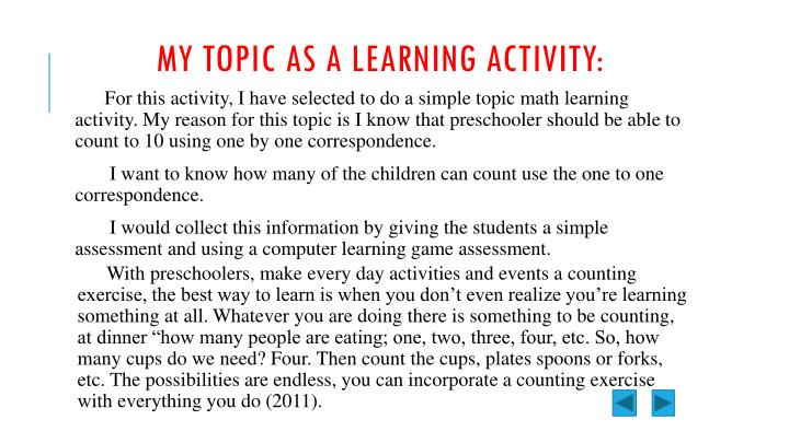 MY topic as a learning activity: