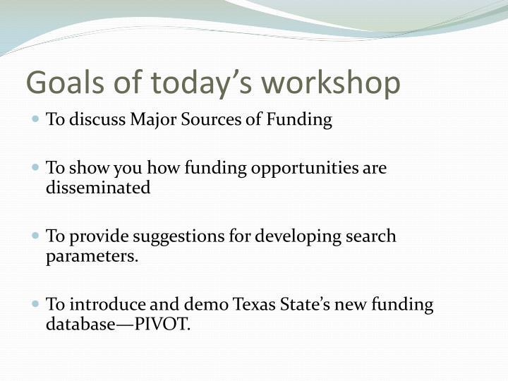 Goals of today's workshop