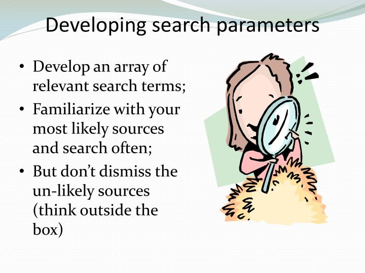 Developing search parameters