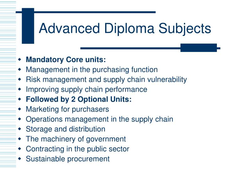 Advanced Diploma Subjects