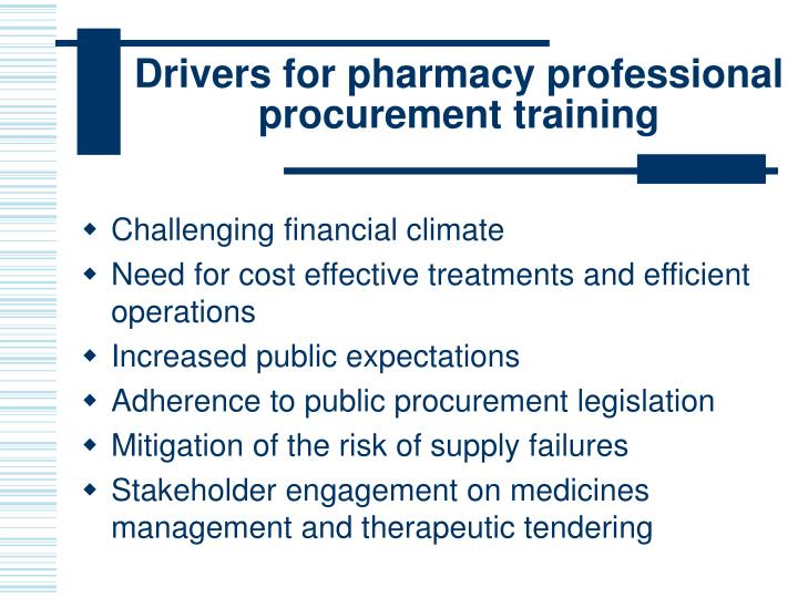 Drivers for pharmacy professional procurement training