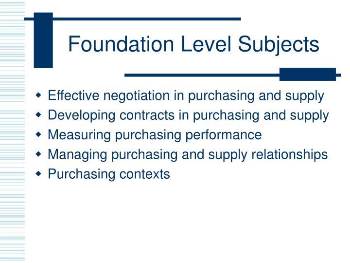 Foundation Level Subjects