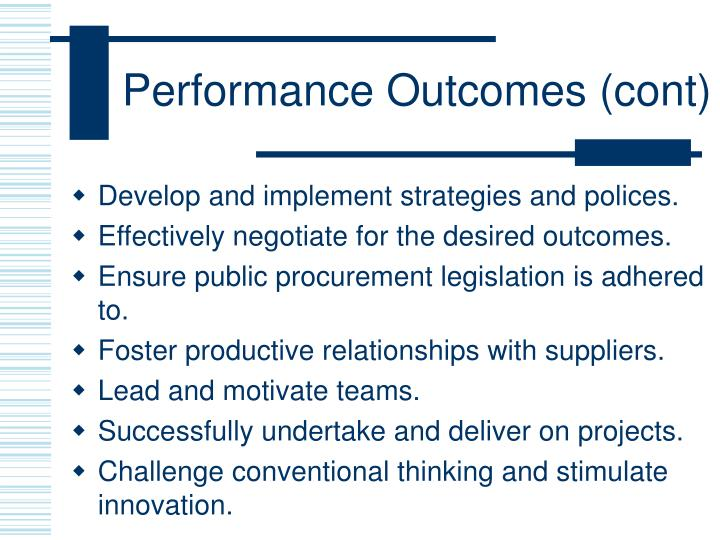 Performance Outcomes (cont)