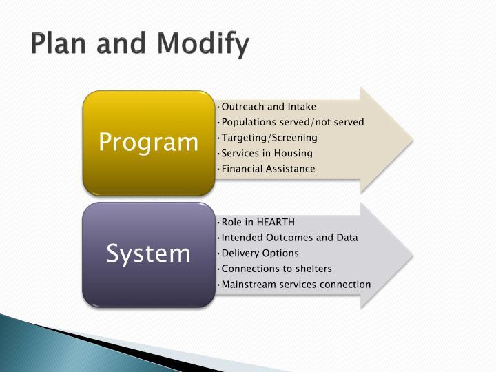 Plan and Modify