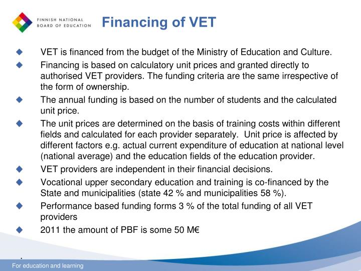 Financing of VET