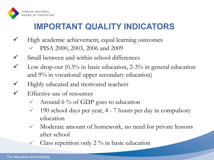 IMPORTANT QUALITY INDICATORS