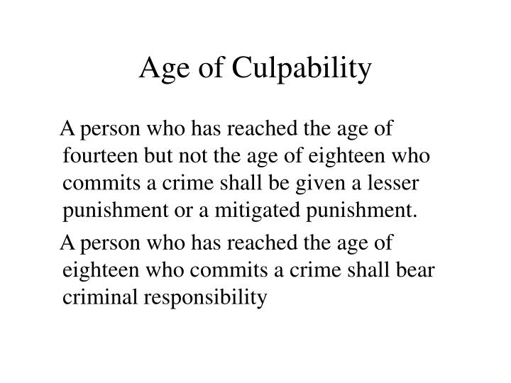 Age of Culpability
