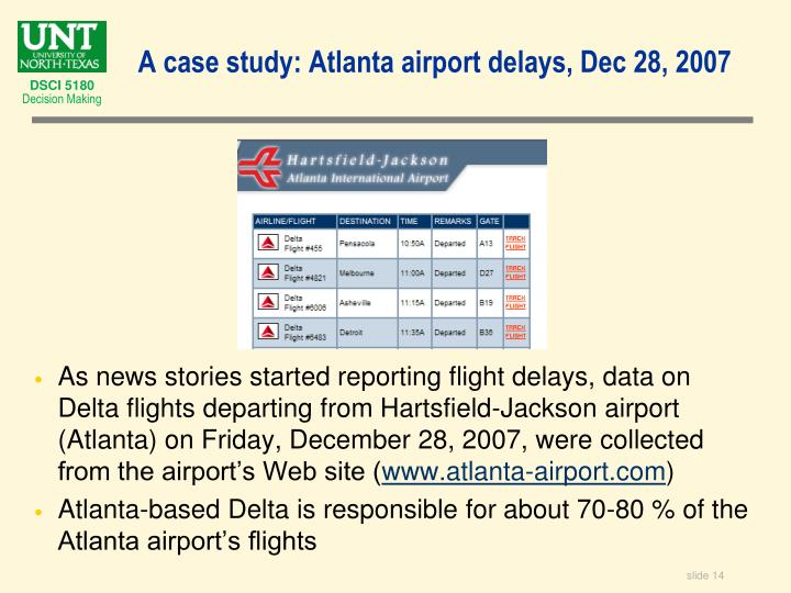 As news stories started reporting flight delays, data on Delta flights departing from Hartsfield-Jackson airport (Atlanta) on Friday, December 28, 2007, were collected from the airport's Web site (