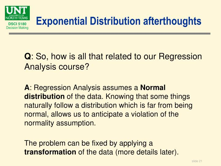 Exponential Distribution afterthoughts
