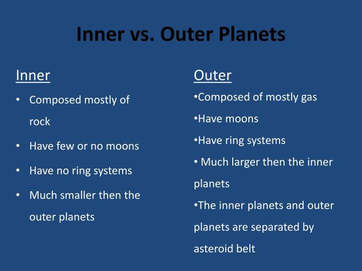 Inner vs. Outer Planets