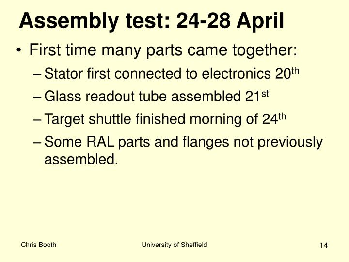 Assembly test: 24-28 April