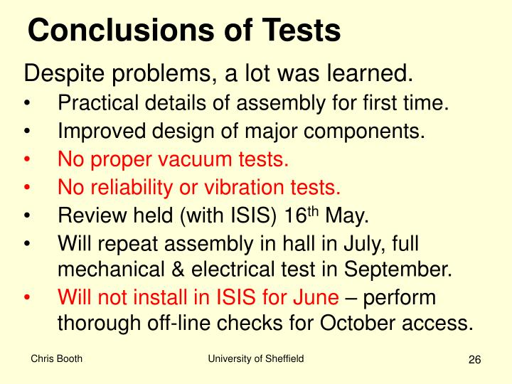 Conclusions of Tests