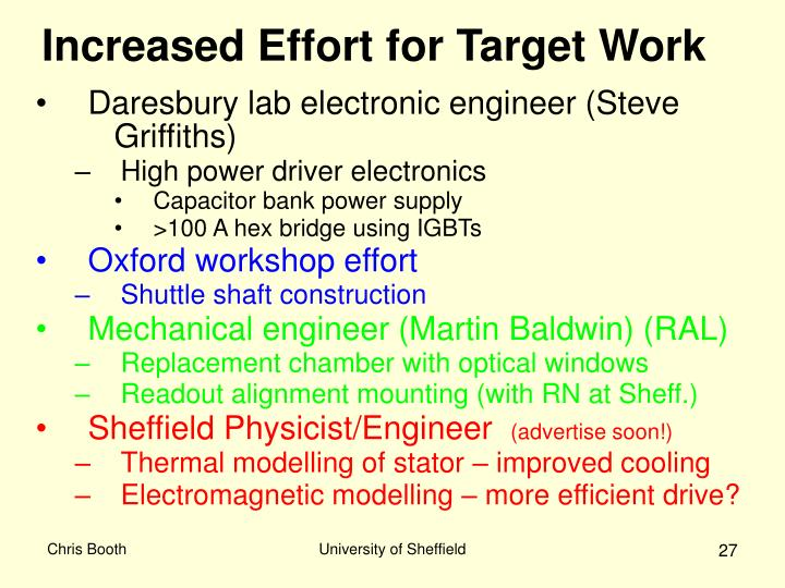 Increased Effort for Target Work