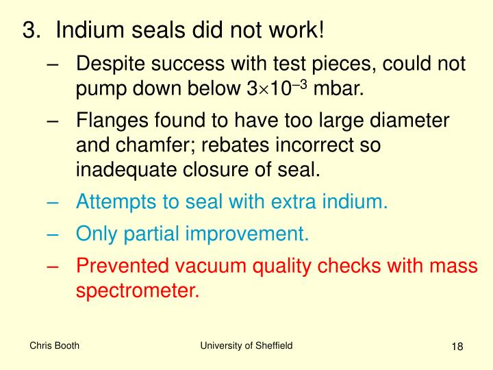 Indium seals did not work!