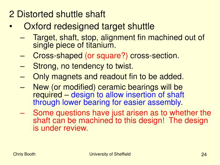 2 Distorted shuttle shaft