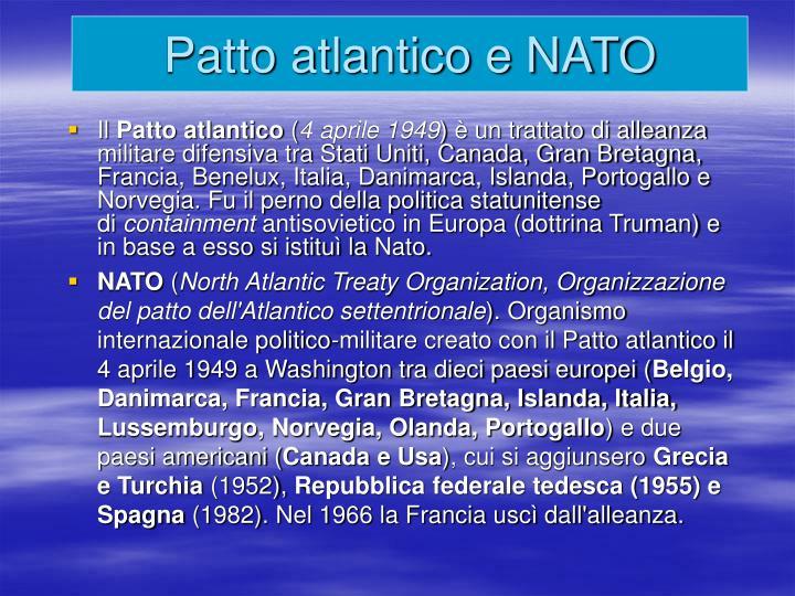 Patto atlantico e NATO