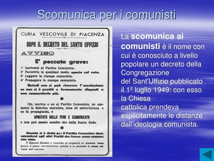 Scomunica per i comunisti