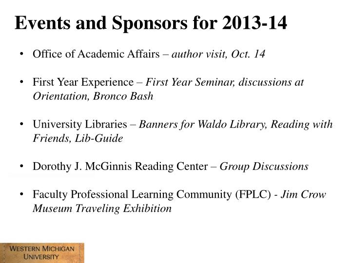 Events and Sponsors for 2013-14