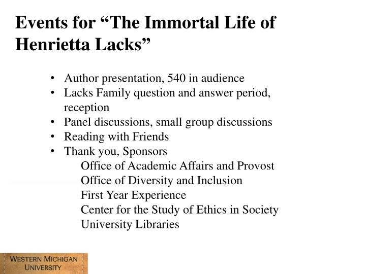 "Events for ""The Immortal Life of Henrietta Lacks"""