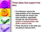 three ideas that support that idea