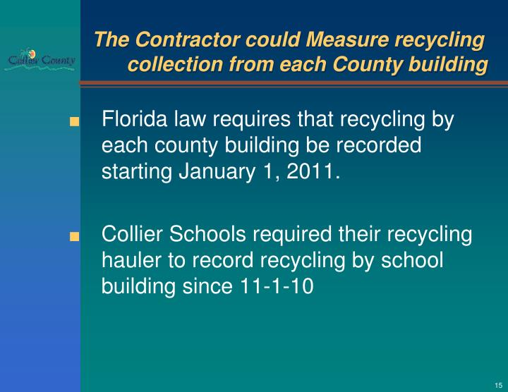 The Contractor could Measure recycling collection from each County building