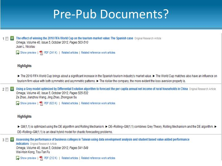 Pre-Pub Documents?