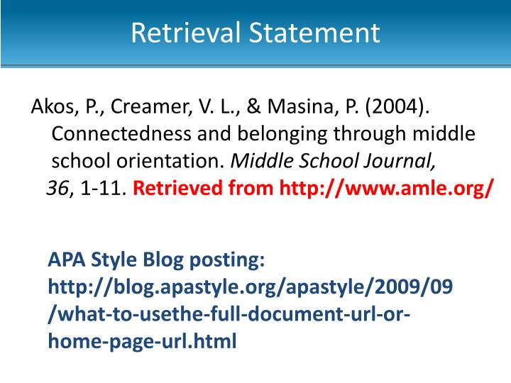 Retrieval Statement