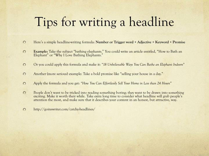 Tips for writing a headline