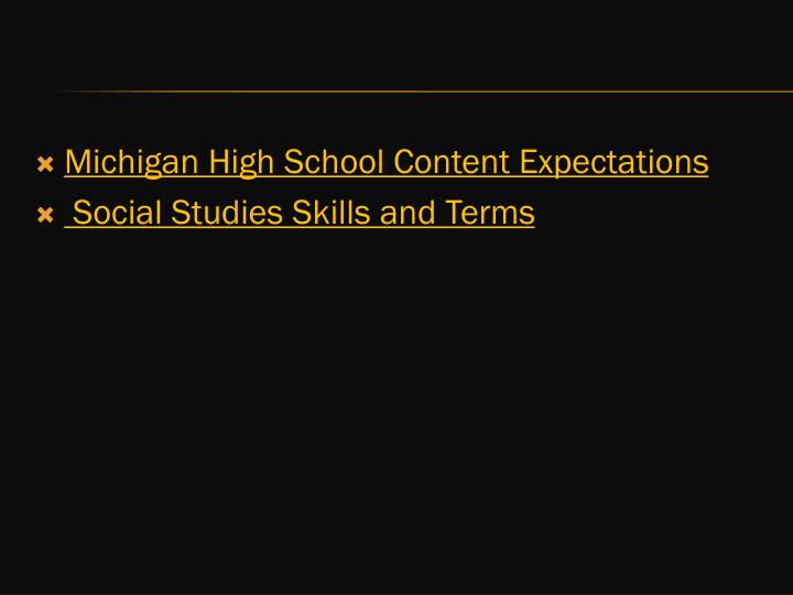 Michigan High School Content Expectations