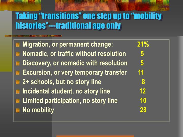 "Taking ""transitions"" one step up to ""mobility histories""---traditional age only"
