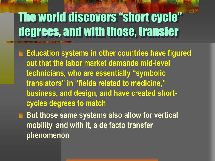 "The world discovers ""short cycle"" degrees, and with those, transfer"
