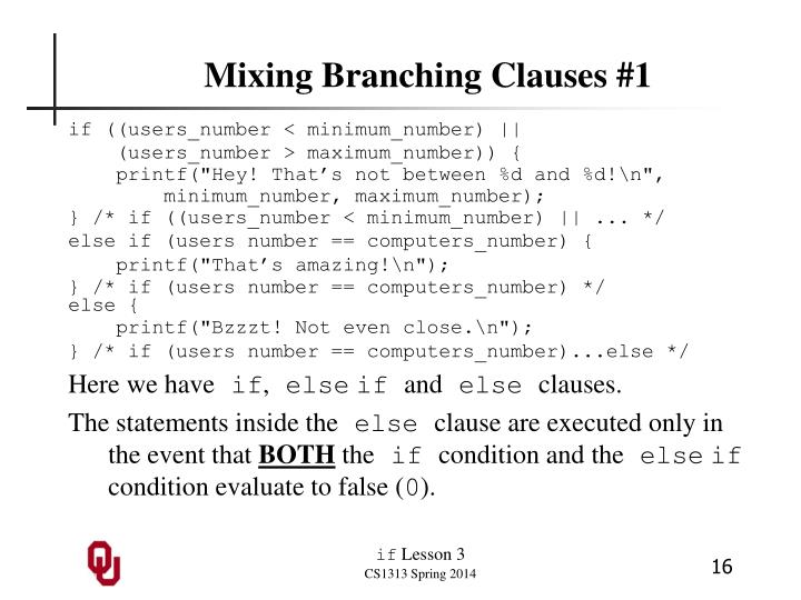 Mixing Branching Clauses #1