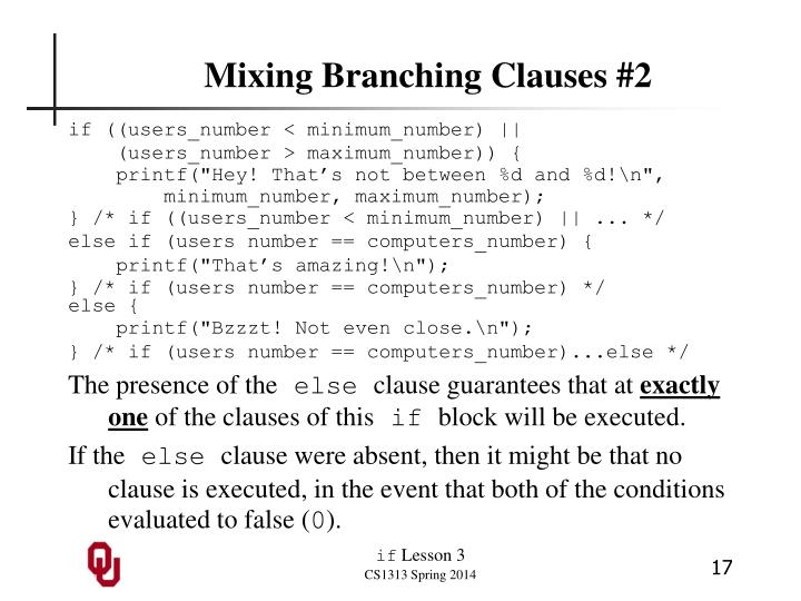 Mixing Branching Clauses #2