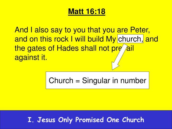 Church = Singular in number