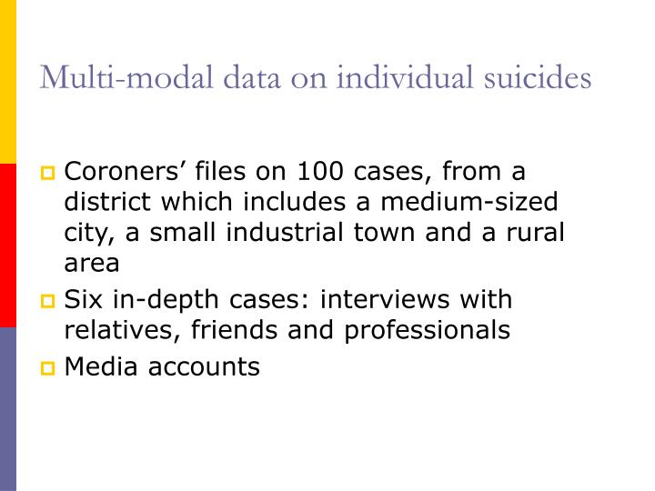 Multi-modal data on individual suicides