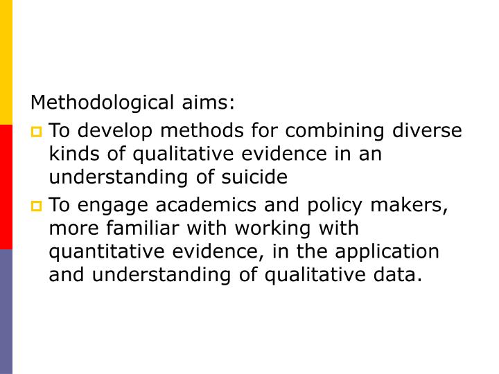 Methodological aims: