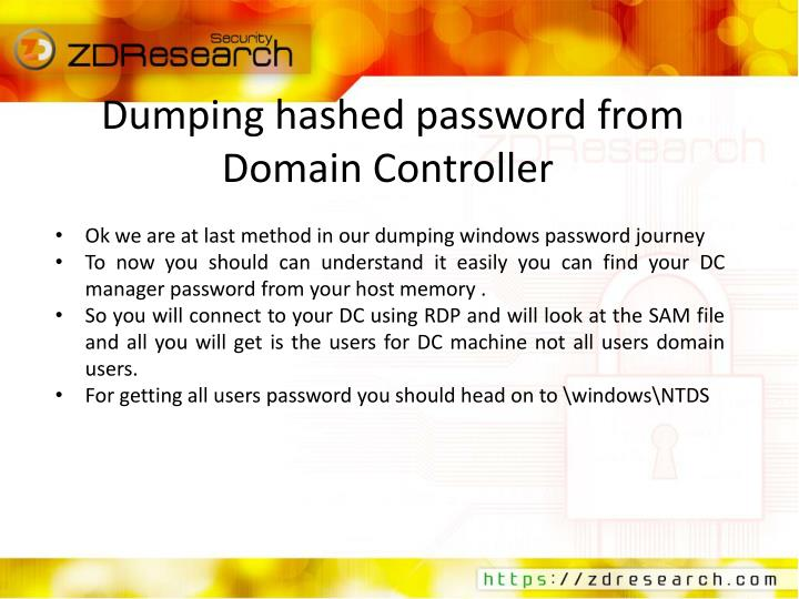 Dumping hashed password from Domain Controller