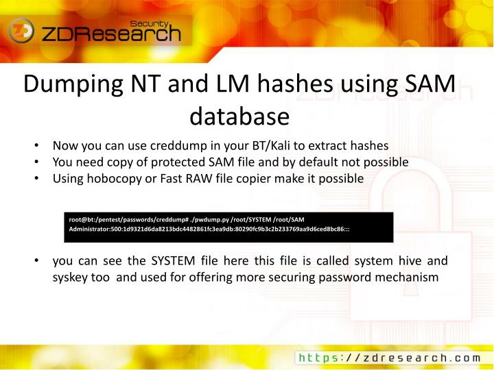 Dumping NT and LM hashes using SAM database